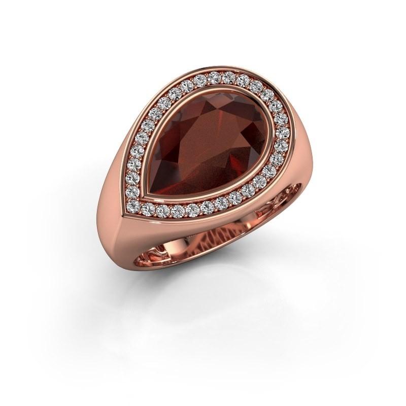 Ring Latashia 375 rosé goud granaat 12x8 mm