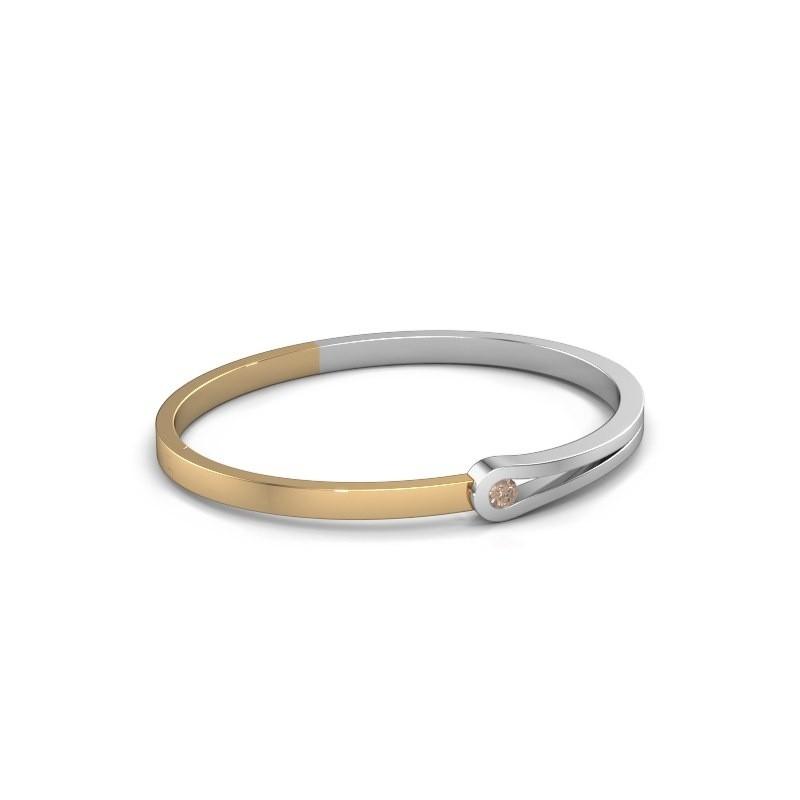 Bracelet jonc Kiki 585 or blanc diamant brun 0.25 crt