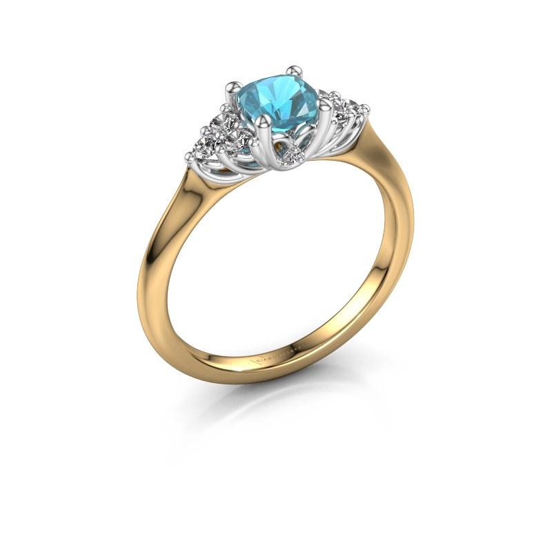 Verlobungsring Felipa CUS 585 Gold Blau Topas 5 mm
