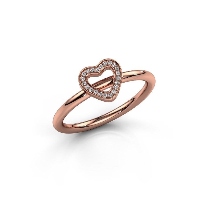 Ring Shape heart small 375 rosé goud diamant 0.055 crt