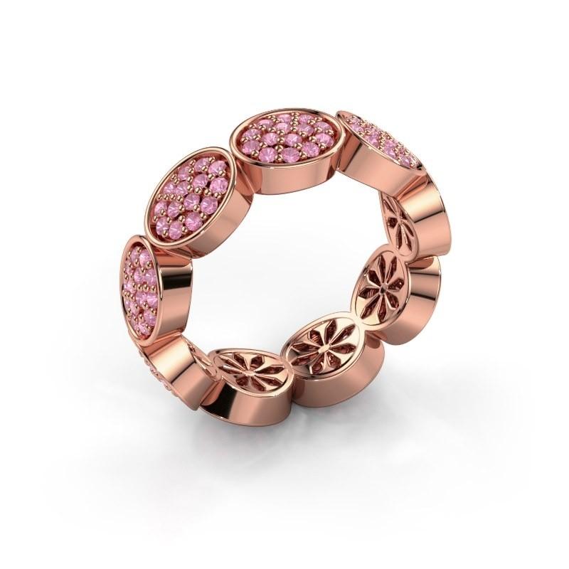 Ring Robin 375 rosé goud roze saffier 1.2 mm