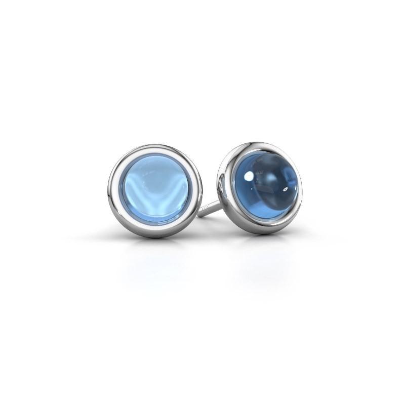Oorstekers Jodi 950 platina blauw topaas 6 mm