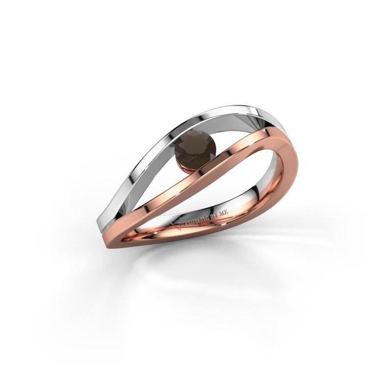 Engagement ring Sigrid 1 585 rose gold smokey quartz 3.7 mm