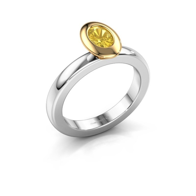 Stapelring Trudy Oval 585 witgoud gele saffier 6x4 mm