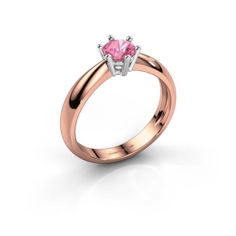 Verlovingsring Fay 585 rosé goud roze saffier 5 mm