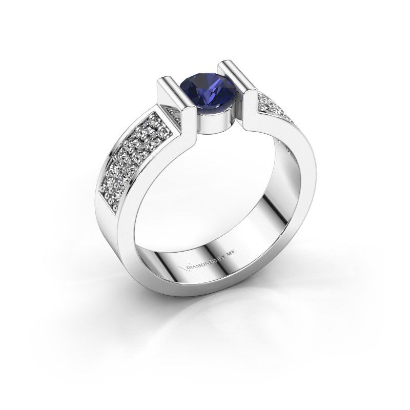 Engagement ring Isabel 3 585 white gold sapphire 5 mm