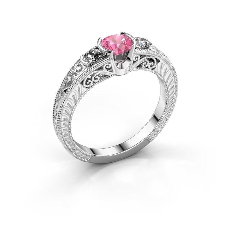 Promise ring Tasia 950 platina roze saffier 5 mm