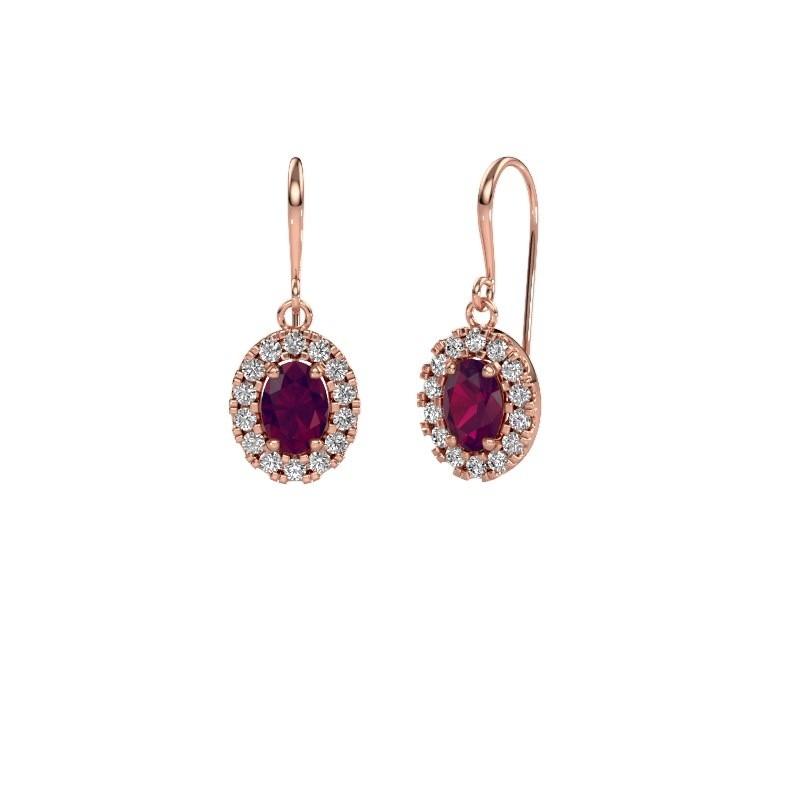 Drop earrings Jorinda 1 375 rose gold rhodolite 7x5 mm