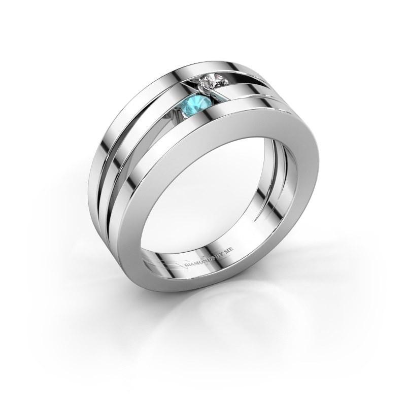 Ring Valerie 585 witgoud blauw topaas 2.7 mm
