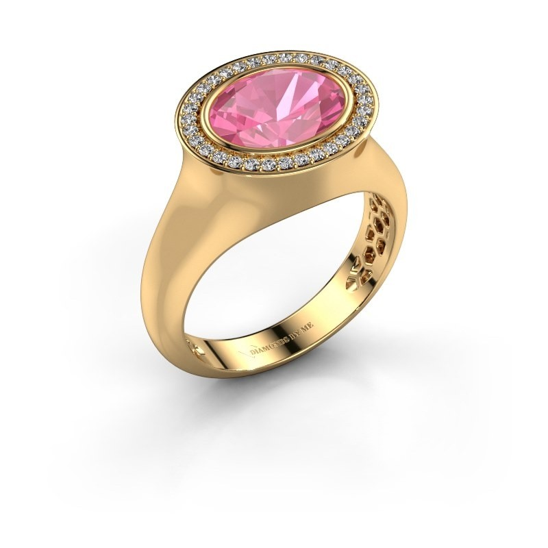 Ring Phebe 585 goud roze saffier 10x8 mm
