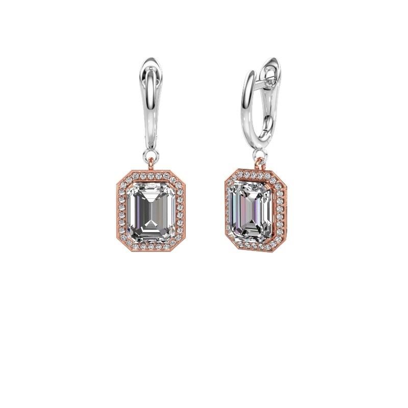 Drop earrings Dodie 1 585 rose gold diamond 2.50 crt