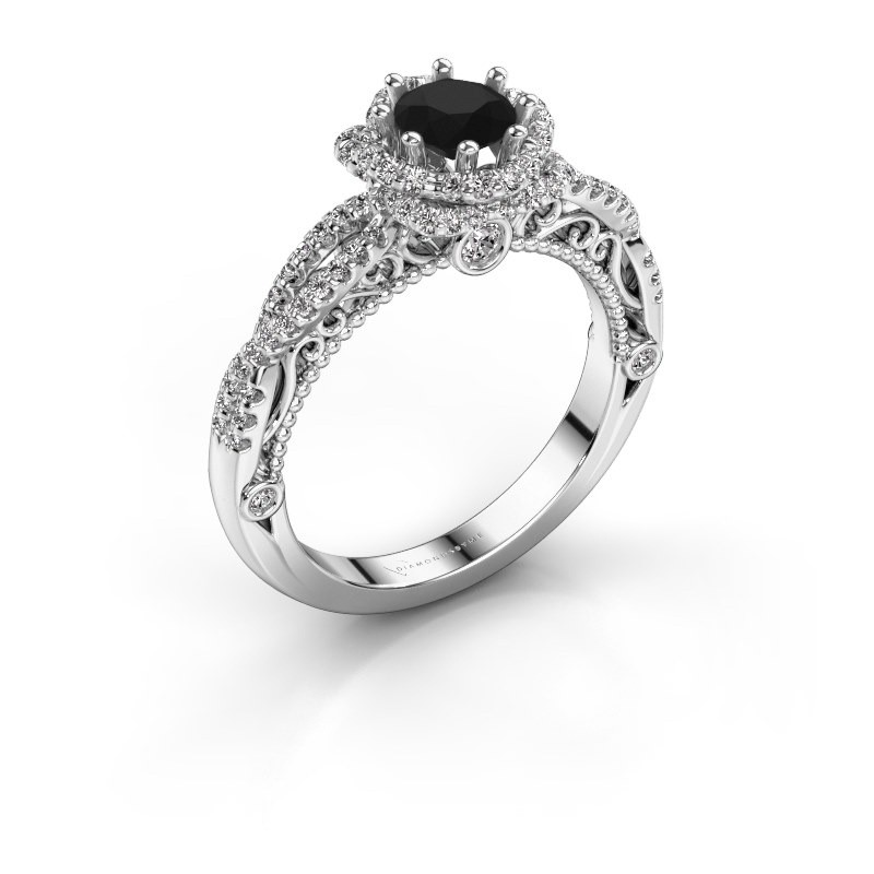 Engagement ring Lysanne 950 platinum black diamond 1.05 crt
