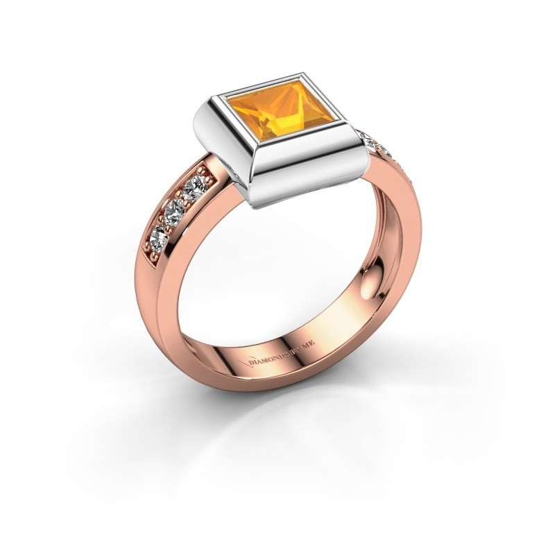 Ring Charlotte Square 585 Roségold Citrin 5 mm