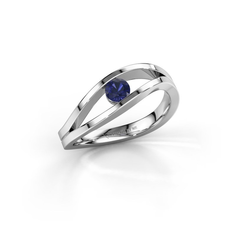 Engagement ring Sigrid 1 585 white gold sapphire 3.7 mm
