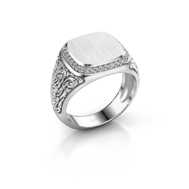 Heren ring Jesse 2 375 witgoud zirkonia 1.2 mm
