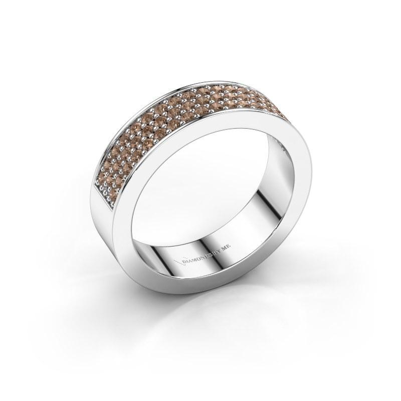 Ring Lindsey 4 585 witgoud bruine diamant 0.53 crt