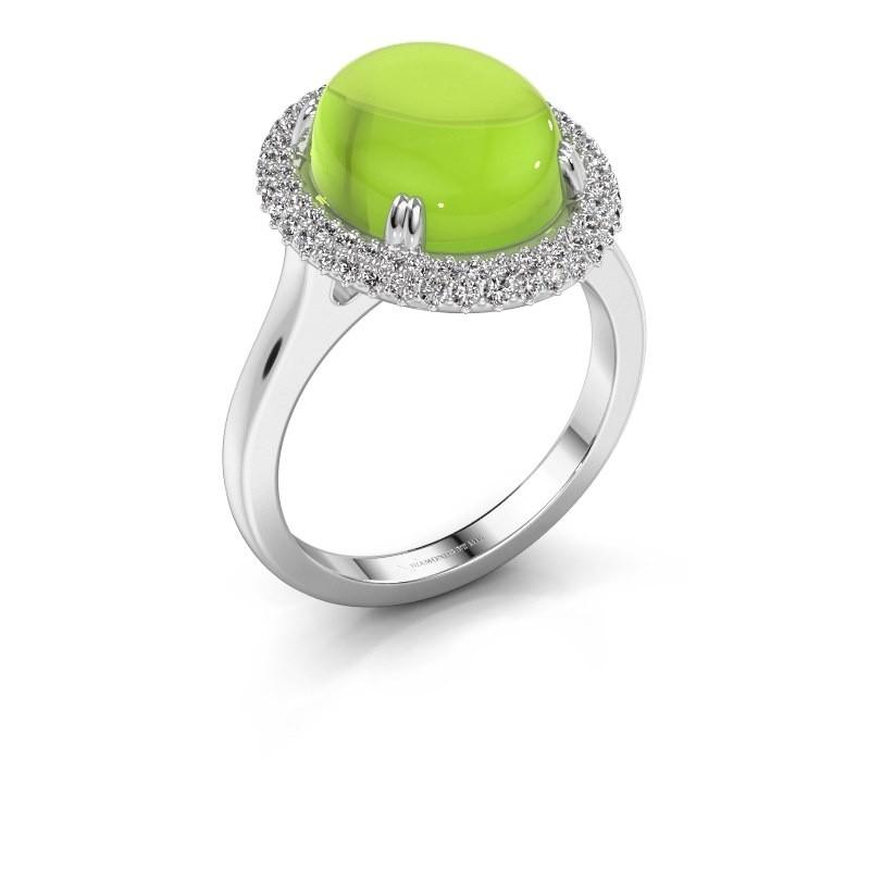 Ring Jayna 750 witgoud peridoot 12x10 mm