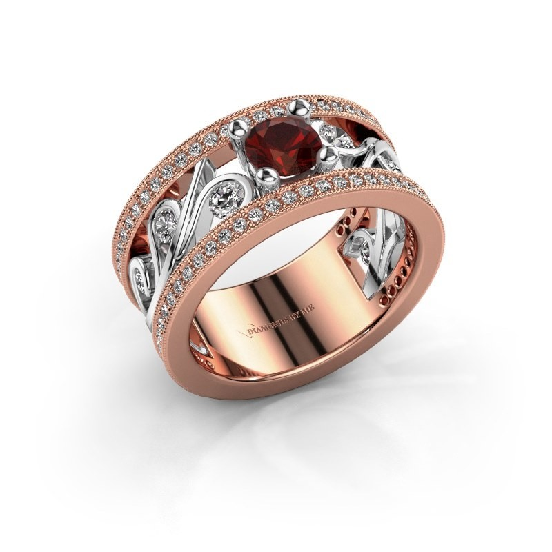 Ring Sanne 585 rosé goud granaat 5 mm