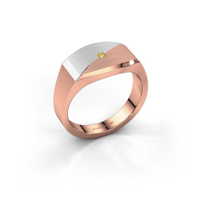 Heren ring Joe 5 585 rosé goud gele saffier 2 mm