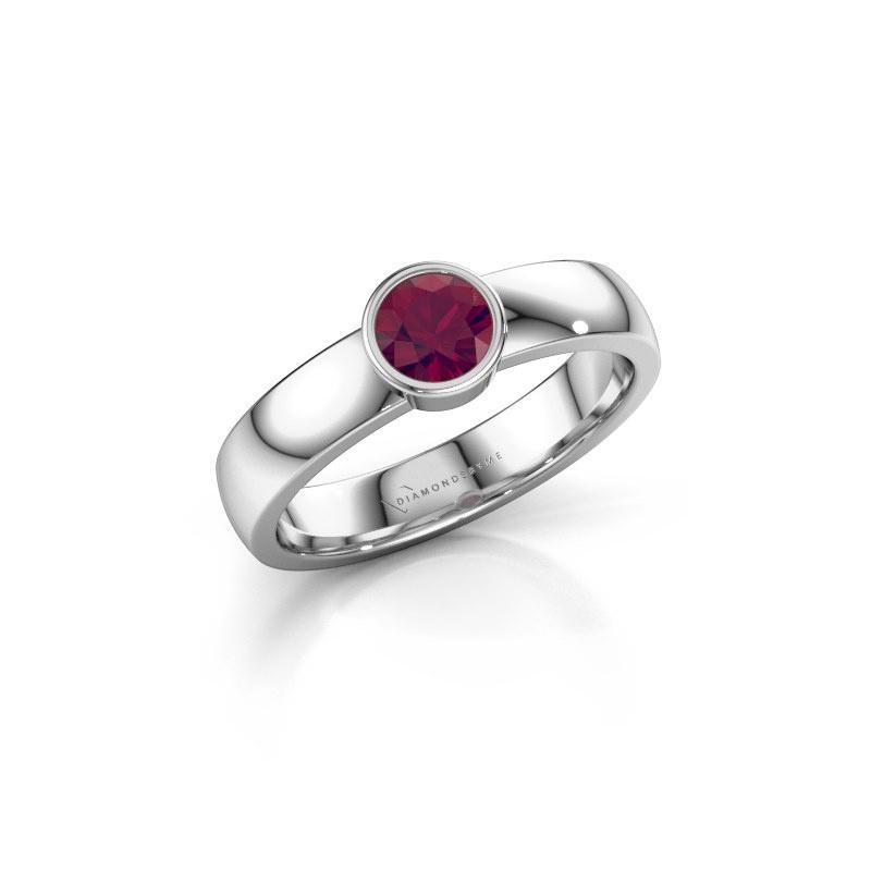 Ring Ise 1 585 witgoud rhodoliet 4.7 mm