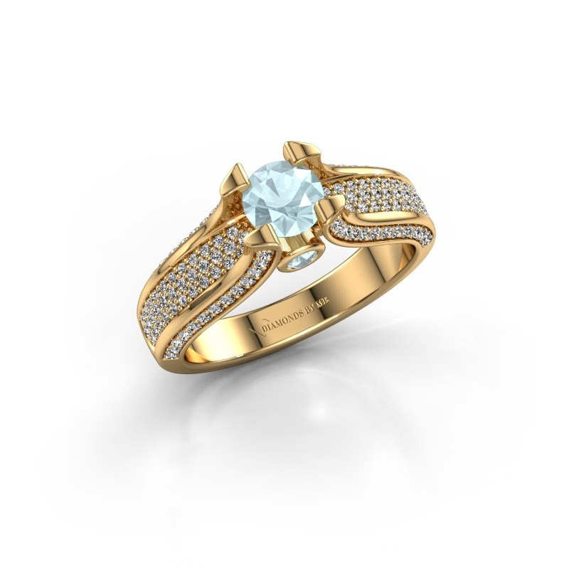 Verlovingsring Jeanne 2 375 goud aquamarijn 5 mm