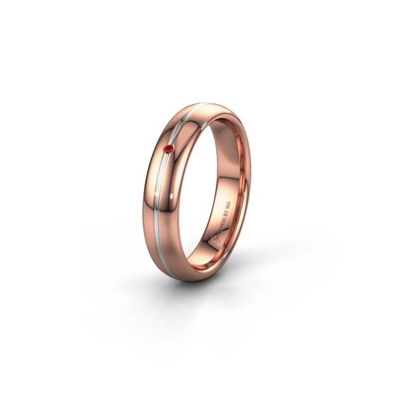 Wedding ring WH2142L34A 585 rose gold ruby ±0.16x0.07 in