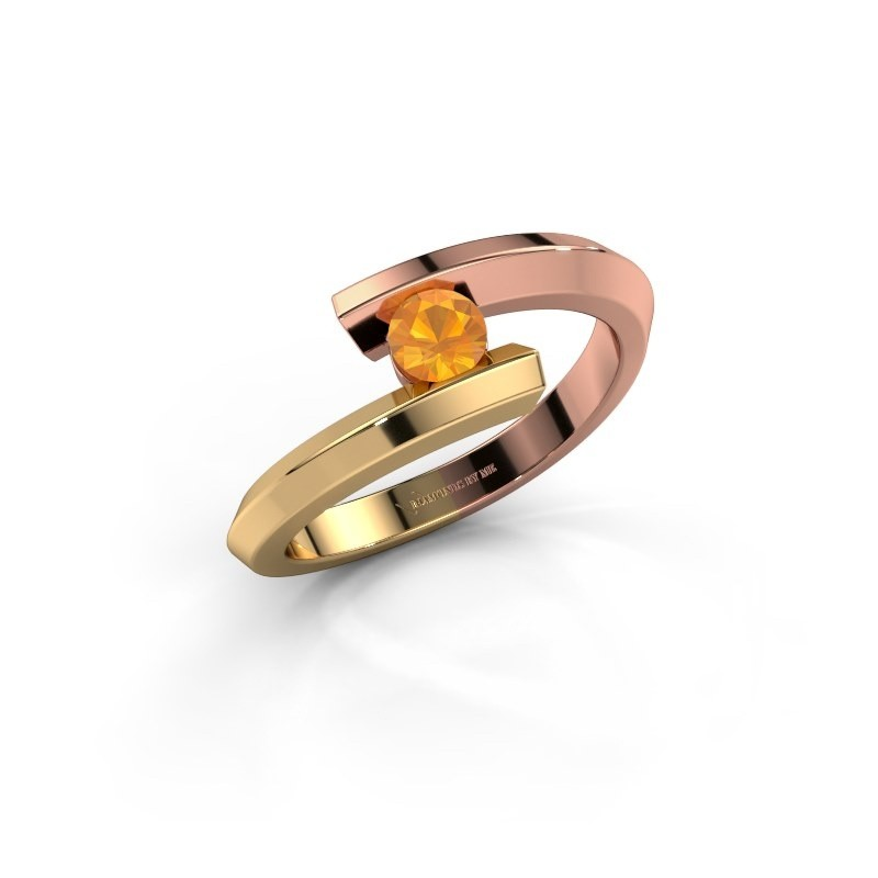 Ring Paulette 585 rosé goud citrien 3.4 mm