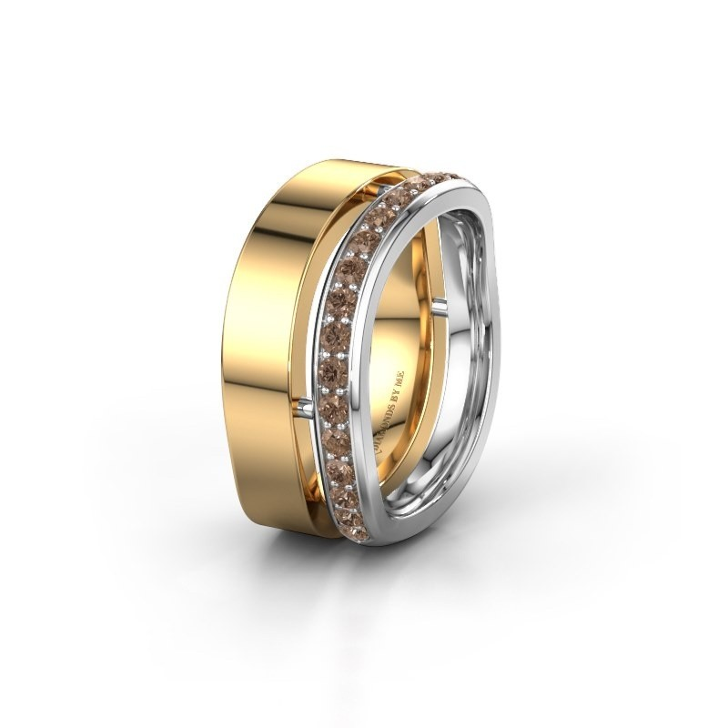 Weddings ring WH6008L18BP 585 gold brown diamond ±10x2 mm