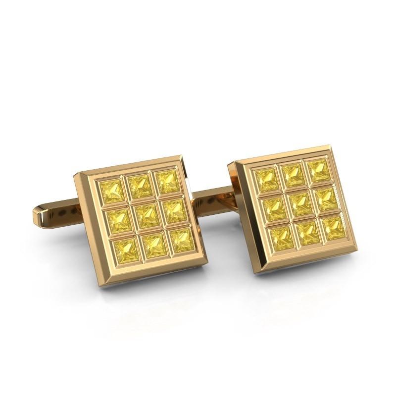 Cufflinks Clen 375 gold yellow sapphire 3 mm