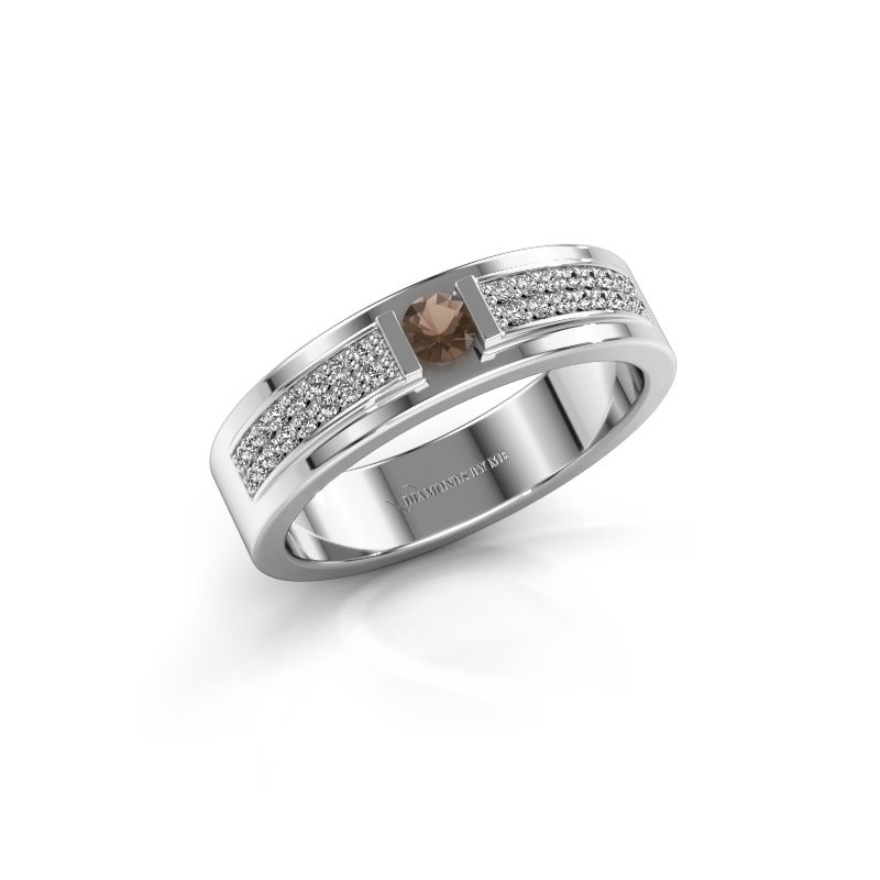 Ring Chanell 585 witgoud rookkwarts 3 mm