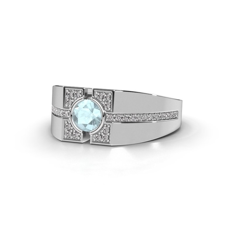 79477472bf8af Men's ring Thijmen 375 white gold aquamarine 5 mm