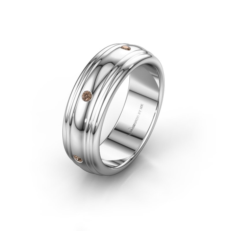 Trouwring WH2236L 950 platina bruine diamant ±6x2.2 mm