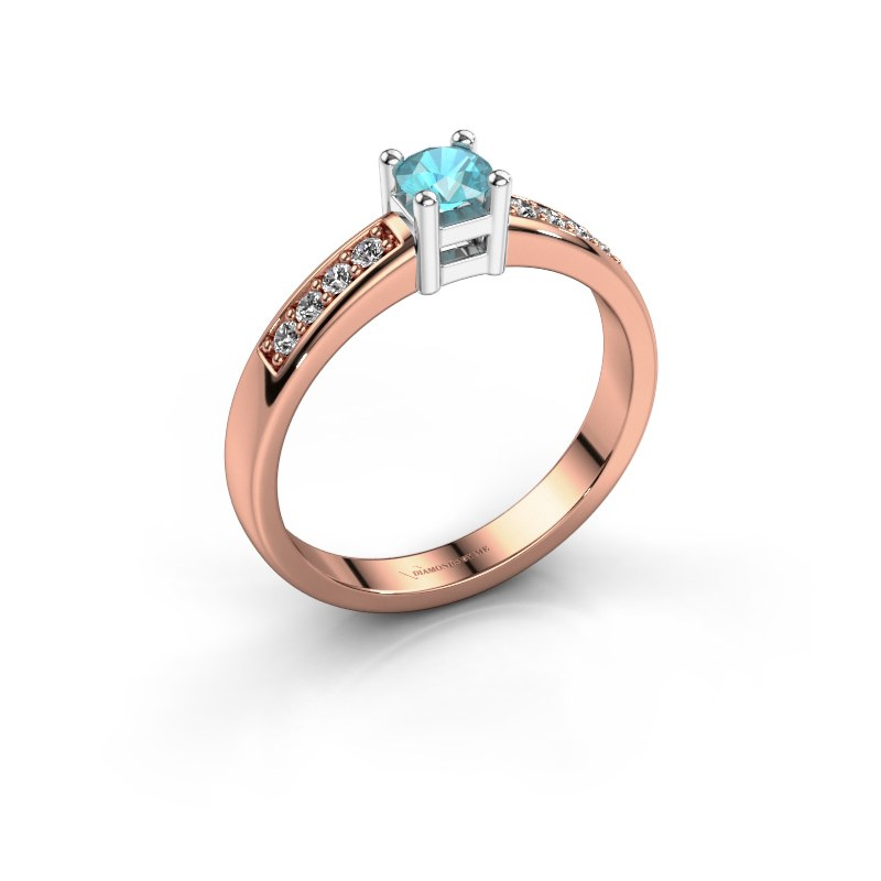Engagement ring Eline 2 585 rose gold blue topaz 3.7 mm