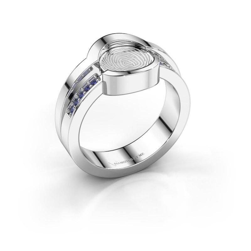 Ring Leander 925 zilver saffier 0.8 mm