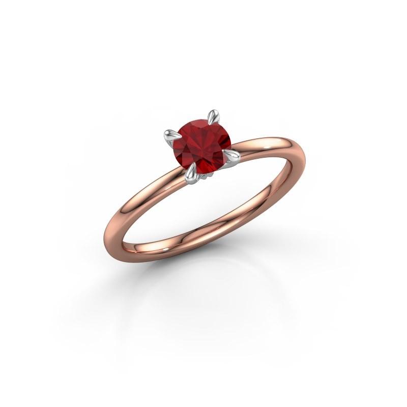 Verlovingsring Crystal RND 1 585 rosé goud robijn 5 mm