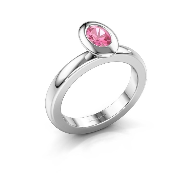 Stapelring Trudy Oval 925 zilver roze saffier 6x4 mm