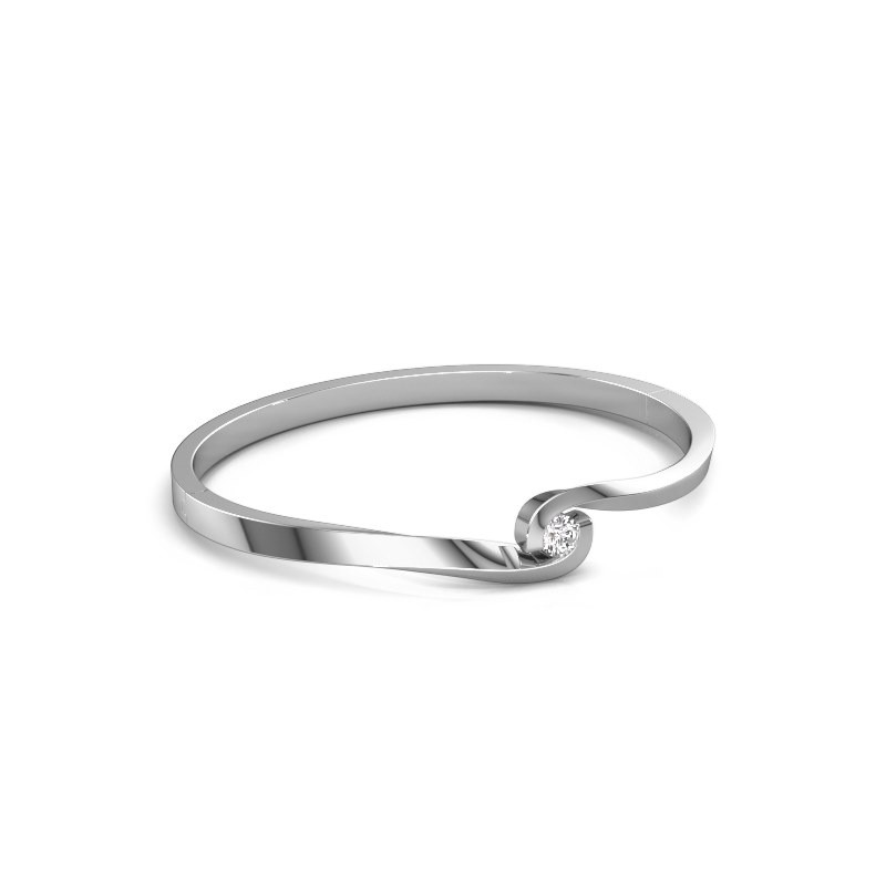 Bracelet jonc Sheryl 585 or blanc diamant 0.40 crt