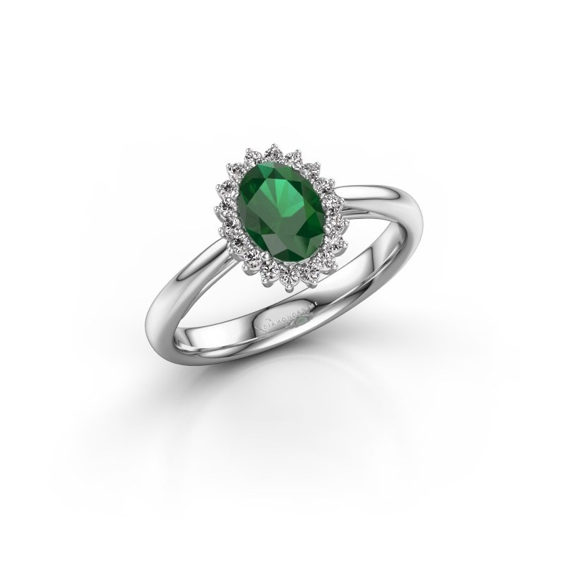 Engagement ring Tilly ovl 1 585 white gold emerald 7x5 mm