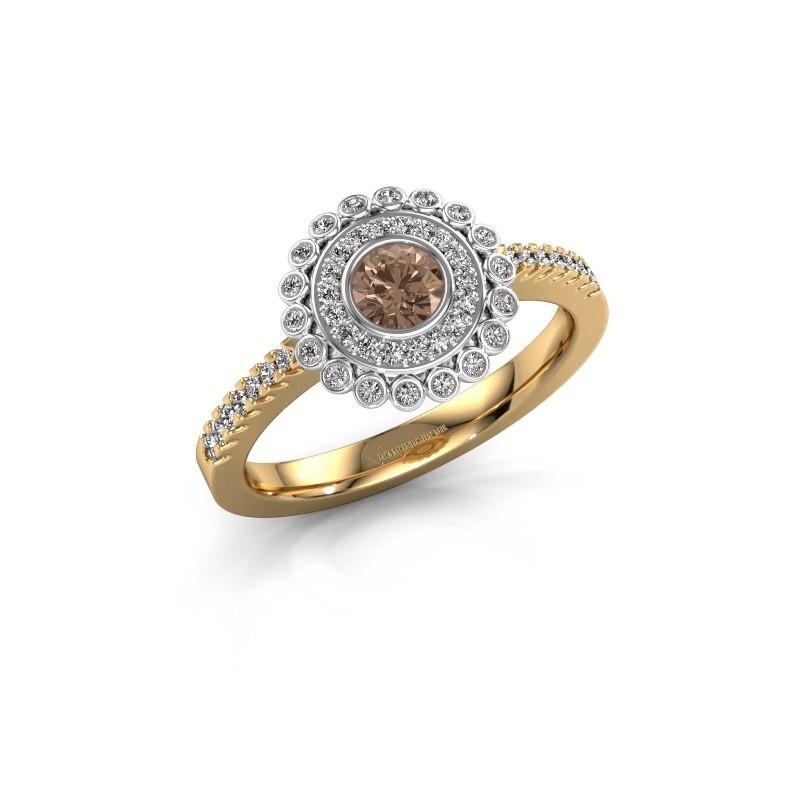 Bague de fiançailles Shanelle 585 or jaune diamant brun 0.25 crt
