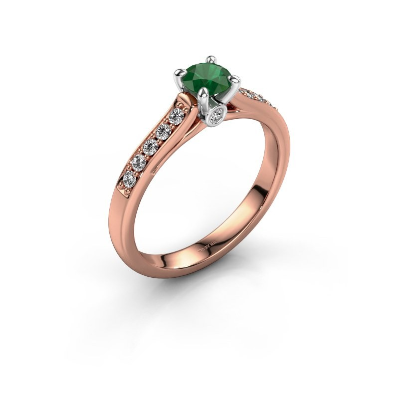 Engagement ring Valorie 2 585 rose gold emerald 4.7 mm
