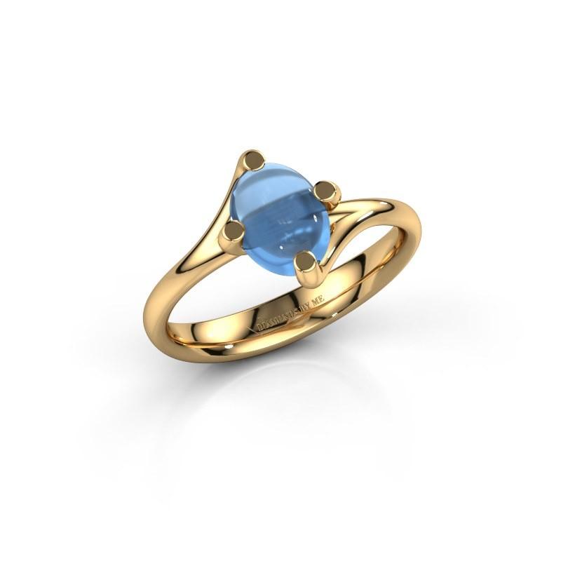 Ring Nora 585 goud blauw topaas 8x6 mm