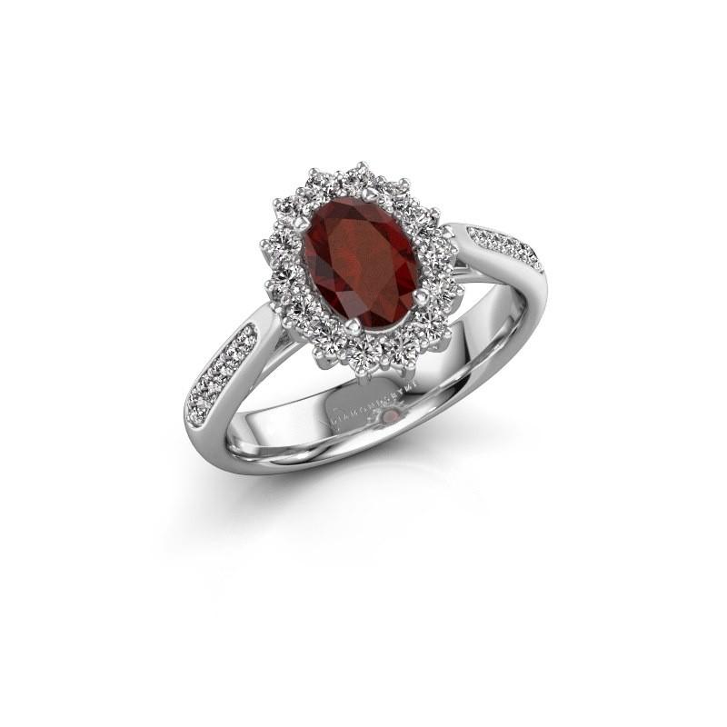 Engagement ring Margien 2 925 silver garnet 7x5 mm