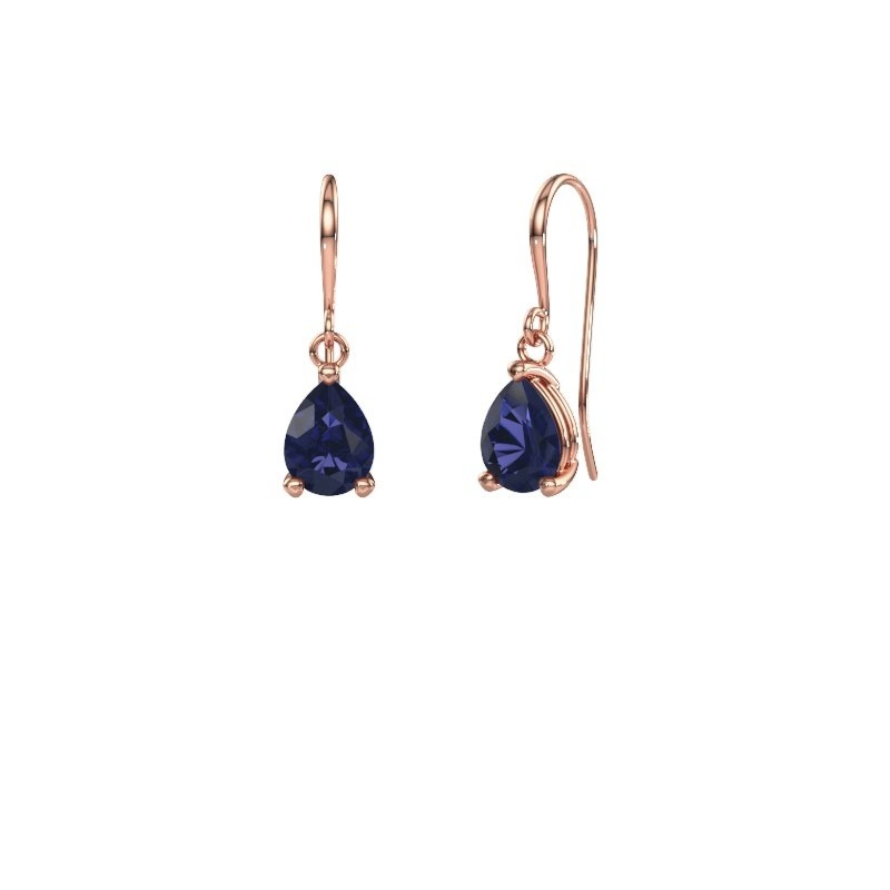Drop earrings Laurie 1 375 rose gold sapphire 8x6 mm