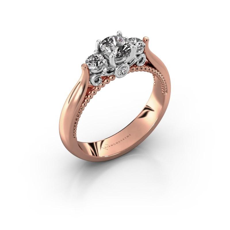 Verlovingsring Tiffani 585 rosé goud diamant 0.64 crt
