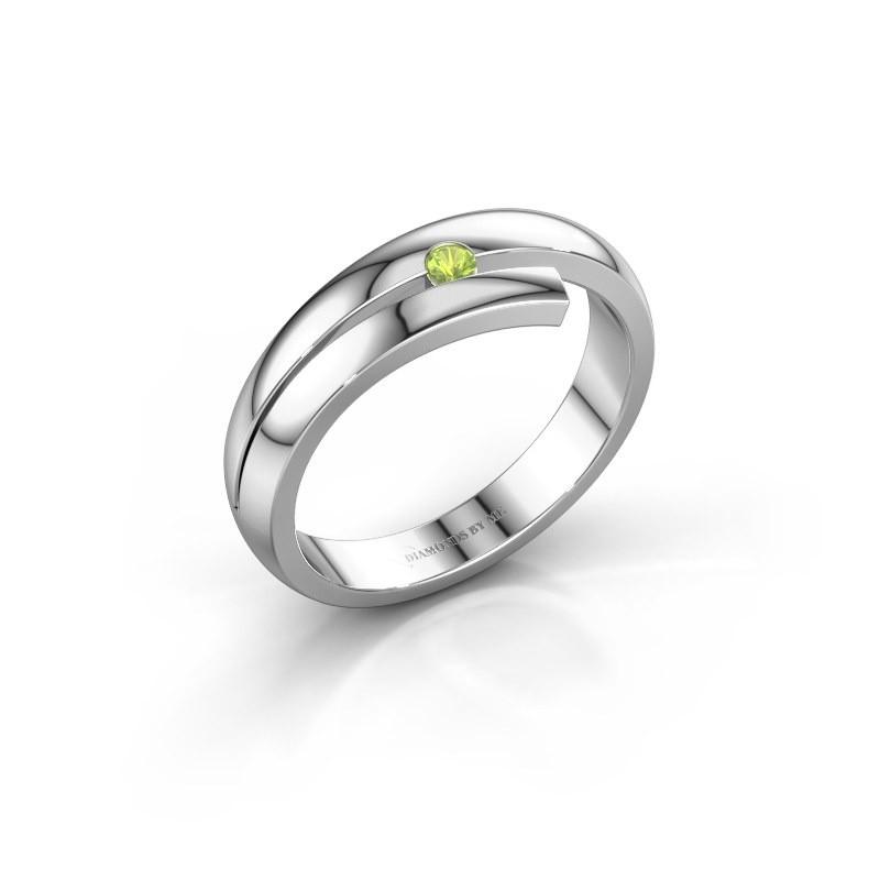 Ring Shela 585 witgoud peridoot 2.2 mm
