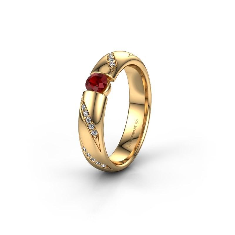 Trouwring WH2102L34A 375 goud robijn ±4x1.7 mm