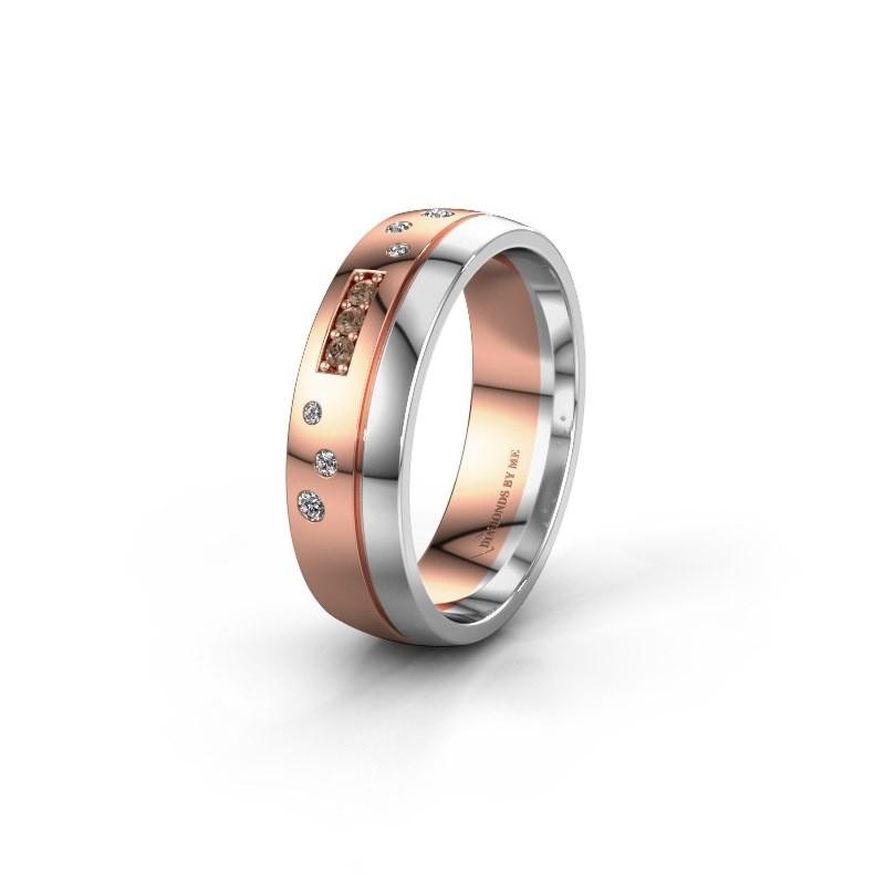 Trouwring WH0310L26AP 585 rosé goud bruine diamant ±6x1.7 mm