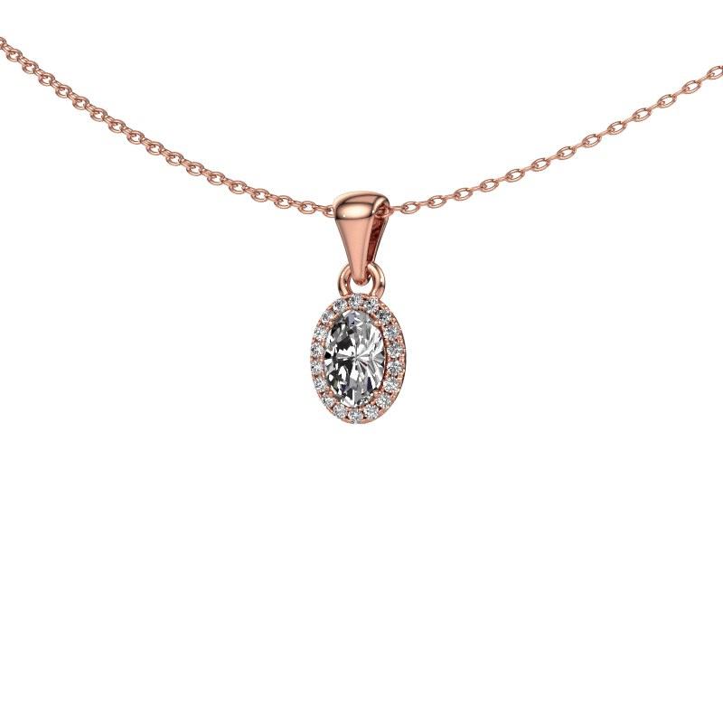 Hanger Seline ovl 585 rosé goud diamant 0.59 crt