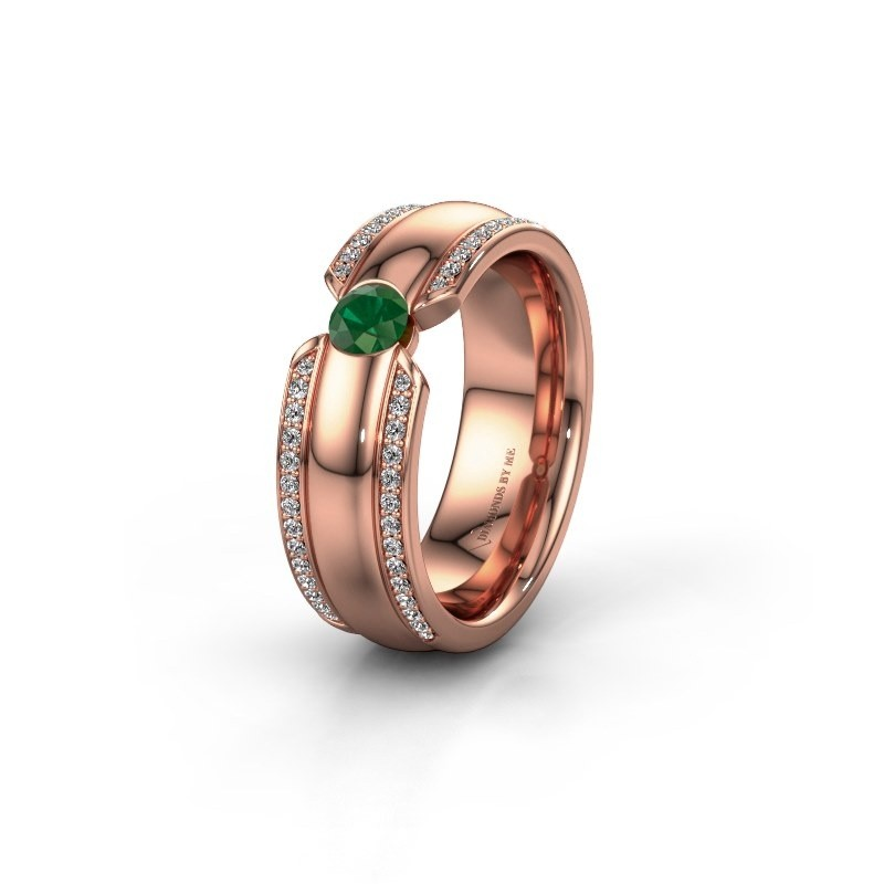 Wedding ring WHR0575L 375 rose gold emerald ±7x2 mm