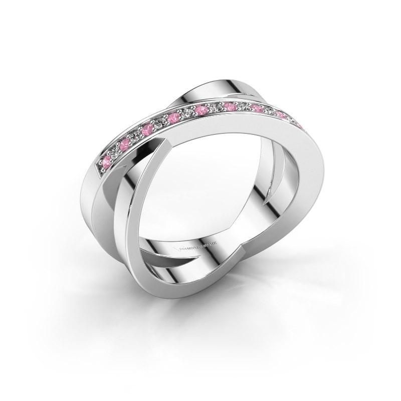 Ring Julie 925 zilver roze saffier 1.2 mm